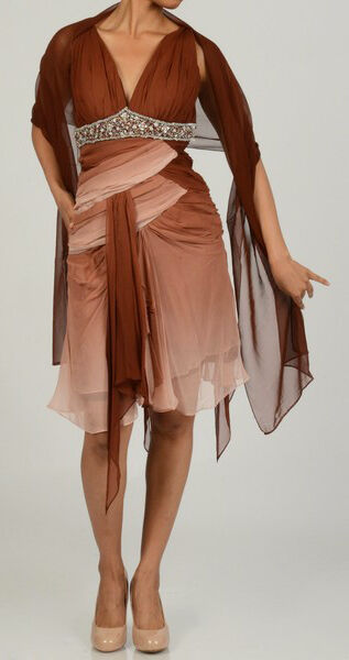 NEW Issue New York Sequin SILK Dress with Scarf -Ombre Browns - size  10