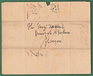 WOW= 1833 Folded Letter Edinburgh to Glasgow,