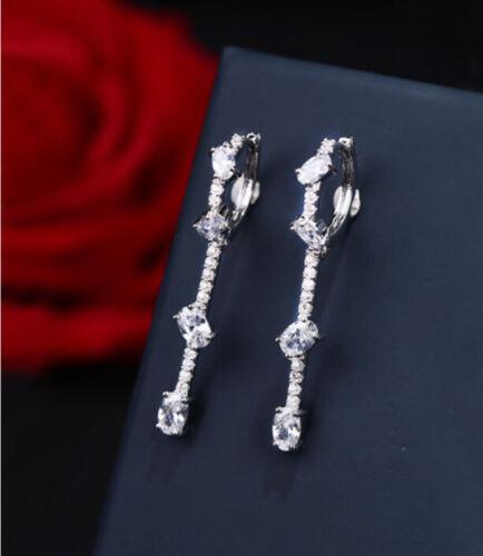 925er plata plegable-creole aretes circonita pedrería larga piedra regalos creolen