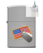 Zippo 200 dog tags and american flag Lighter & Z-PLUS INSERT BUNDLE