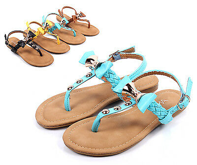 Ice Blue ## Bowknot Kids Girls Sandals Flat Youth Slip On Dress Shoes Size 3