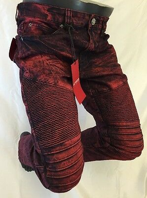 Mens Jean VICTORIOUS Straight Leg BURGUNDY STAIN WASH ACID BIKER ROCKER DL1052