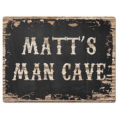 PP1629 MATT/'S MAN CAVE Plate Chic Sign Home Room Garage Decor Birthday Gift