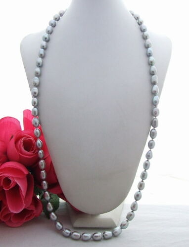 "14 mm Gris riz collier de perles 34/"" Long Collier"