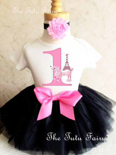 Poodle Paris Dog Puppy Pink Baby Girl 1st First Birthday Tutu Outfit Shirt Set