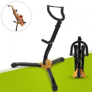 Metal-Folding-Saxophone-Stand-Tenor-Alto-Sax-Rack-Tripod-Holder-Protable-Black