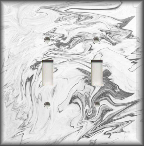 Metal Light Switch Plate Covers Marble Stone Design Home Decor White And Grey 03