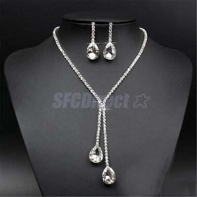 Bride Wedding Crystal Rhinestone Drop Necklace Earring Pendant Jewelry Set