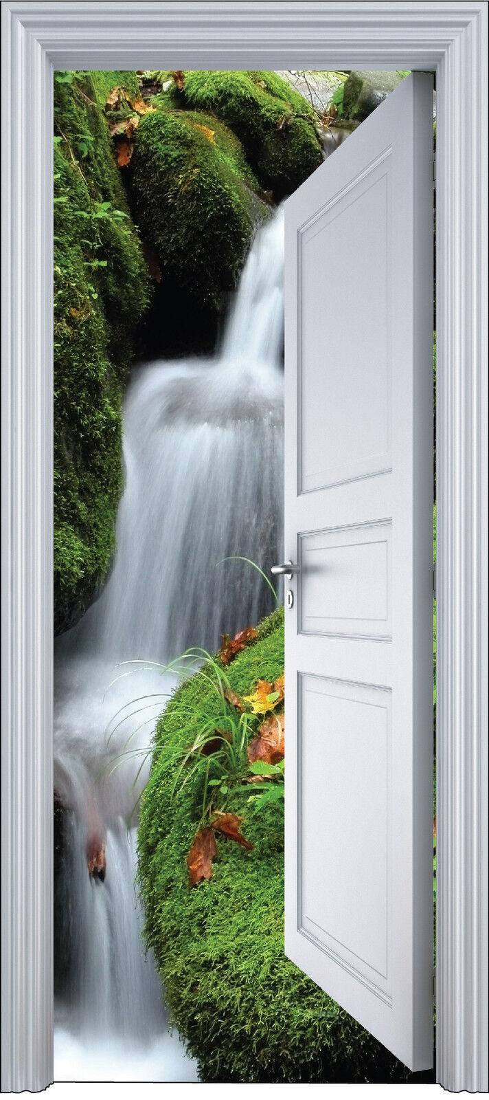 Aufkleber Tür Schein Auge Deko Wasserfälle 90x200 cm Ref 2111