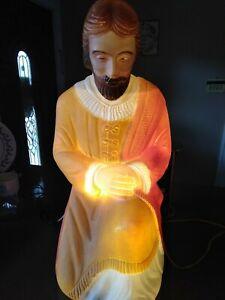 BLOW-MOLD-CHRISTMAS-NATIVITY-JOSEPH-HARD-PLASTIC-26-034-VINTAGE-RARE-POLORON