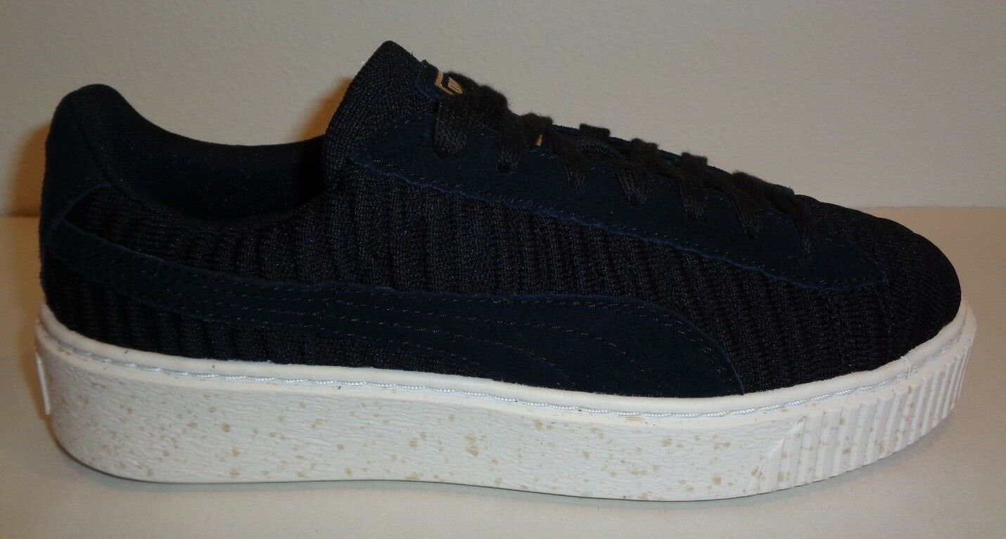 Puma Size 10 BASKET PLATFORM OW Black Fabric Suede Sneakers New Womens shoes