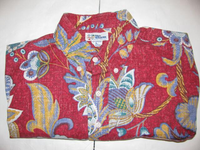 Reyn Spooner Pullover Hawaiian Shirt L Red Palms floral Aloha Hawaii Reverse