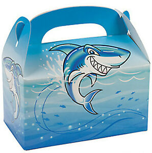 Shark Party Treat Boxes Pack of 6 Jawsome Medium Favour Jaws Gift Box Free Post
