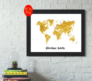 World Map Adventure Awaits Gold Foil Print Vintage Foil Rose Gold Wall Art