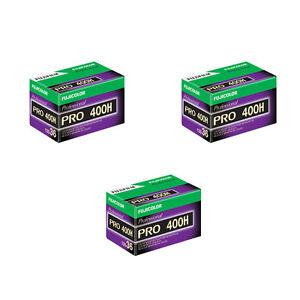 3 Rolls Fuji Pro 400H 135-36 (36 Exp) Color Negative IS0 400 35mm Film 03/2019