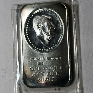 1981-Madison-Mint-Ronald-Reagan-Presidential-Cameos-1-Ounce-999-Silver-Art-Bar