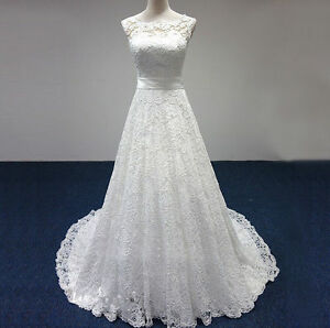 New-ivory-White-Lace-Wedding-Dress-Bridal-Gown-with-Sash-size6-8-10-12-14-16-18