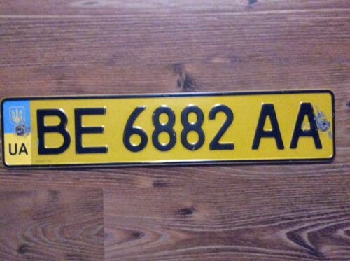 UKRAINE LICENSE PLATE YELLOW BUS TAXI PUBLIC CARS BE region MIKOLAEV