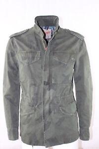 Giubbino-Uomo-BOB-Company-Militare-Verde-Cotone-Cerniera-Field-Camouflage-NUOVA
