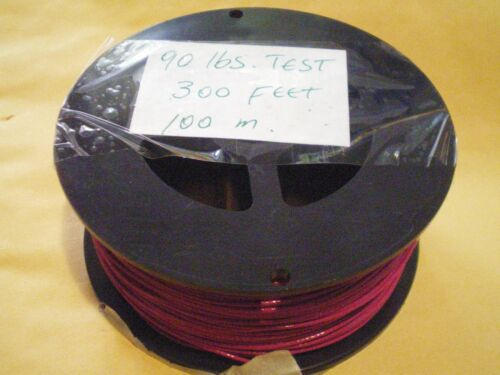 90 LBS TEST 1X7 STRAND+100 SLEEVES STAINLESS S LIGHT-RED WIRE LEADER 300 FEET