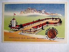 "Vintage Roadside Motel Postcard - ""Aztec Motel"" San Diego, CA - Linen Texture *"