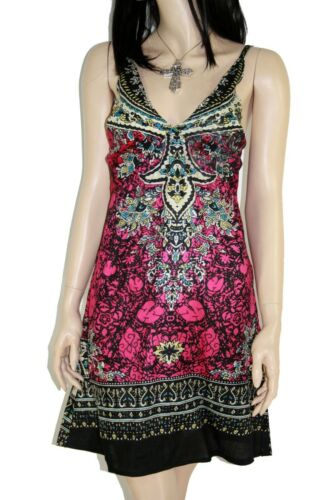 Mixed Print Red summer dress adjustable Straps Elasticated Back size 12 B326 L33