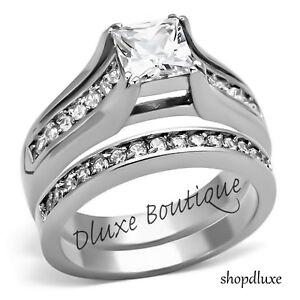 Stunning-Princess-Cut-CZ-Stainless-Steel-Wedding-Ring-Band-Set-Women-039-s-Size-5-10