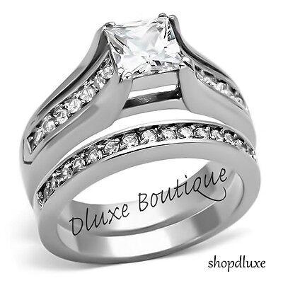 Stunning Princess Cut CZ Stainless Steel Wedding Ring Band Set Women's Size 5-10