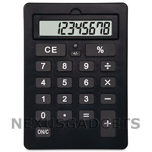 Black Extra Large Big Giant Calculator Jumbo Huge Buttons 8 Digit Flip Up LCD FS