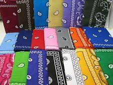 U Pick 1 100% Cotton Paisley Scarf Bandana Handkerchief Black White KT16-P1