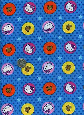 HELLO KITTY BIG TOP CIRCLES /& STARS BLUE SANRIO COTTON FABRIC SOLD BY THE 1//2 YD