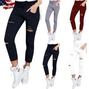 US-Women-Denim-Skinny-Ripped-Pants-High-Waist-Stretch-Jeans-Slim-Pencil-Trousers