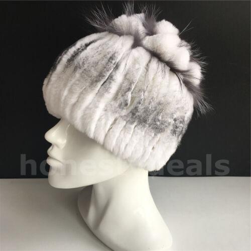 Real Rex Lapin Fourrure Chapeaux Hiver Chaud Fourrure Head Wrap tricot Cap Beanie Chapeau//Blanc
