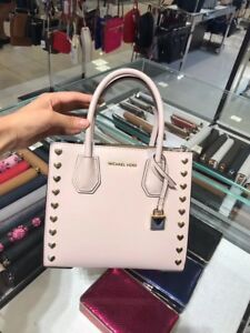 2d42661af632 Michael Kors Soft Pink Leather Heart Studded Mercer Medium Messenger ...