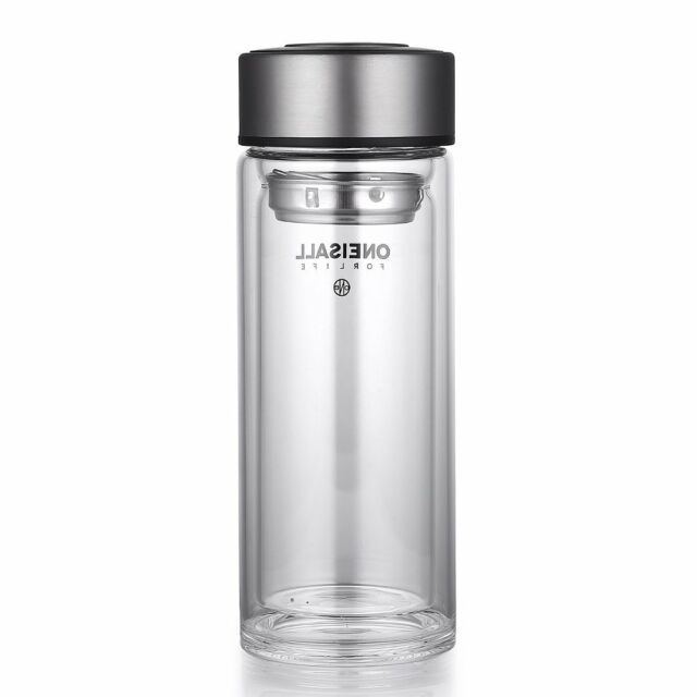 ONEISAll Double-wall Borosilicate Glass Water Bottle Tea Cup with Strainer 350ML