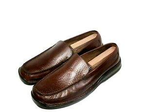 Men-039-s-H-S-Trask-Driving-Mocassin-Brown-Pebbled-Leather-Slip-On-Loafers-Size-12M
