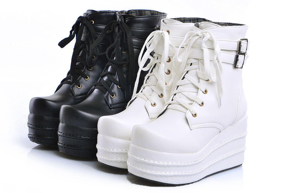 Womens Lace-up Ankle Boots Platform Wedge shoes Punk Casual Sneakers Large Size