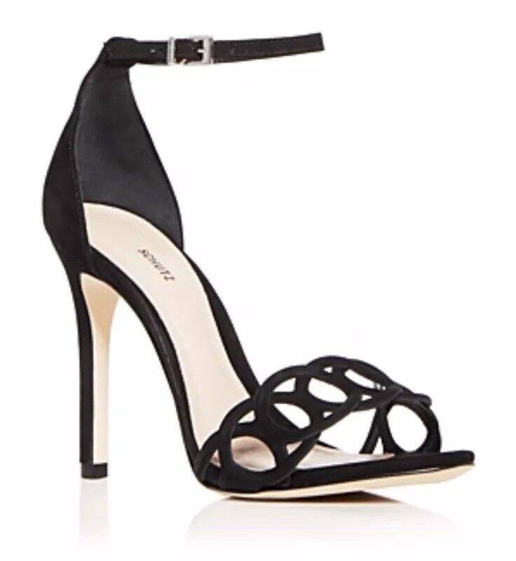 New  190 Schutz Sthefany Black Suede Open Toe Heels Sandals Size 8