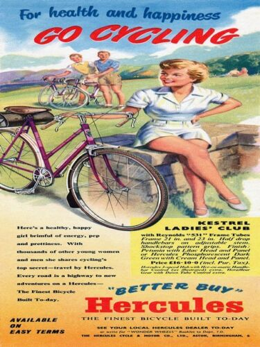 Go Cycling vintage Hercules  advert  poster reproduction.