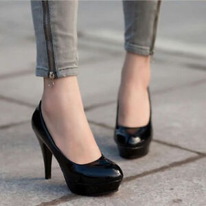 Womens-Patent-Leather-Round-Toe-Stiletto-High-Heels-Pumps-Platform-Wedge-Shoes