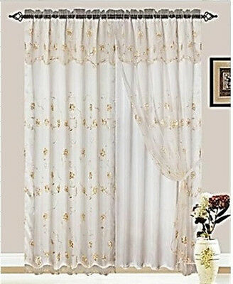 SET OF 2 MELANIE GISELLE EMBROIDERED LINED CURTAINS WITH ATTACHED VALANCE