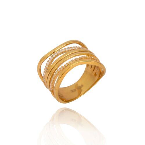 Plata esterlina 925 placa de oro CZ Banda de la eternidad Grueso Boho señoras anillo de apilamiento
