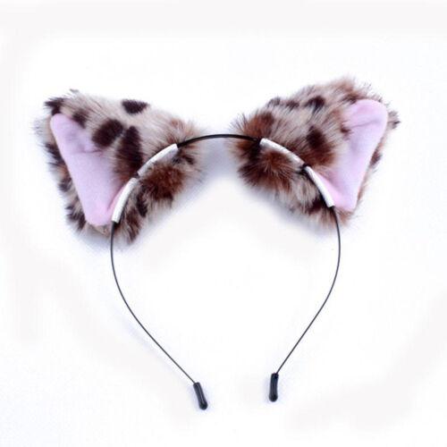 Dame Katzenohren Haarband Katzen Haarreif Stirnband Headband Party Cosplay Neu