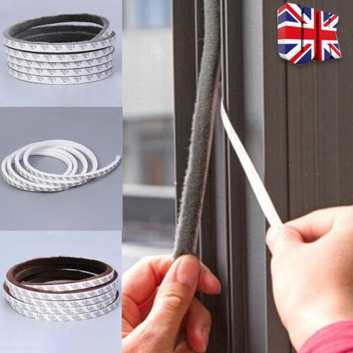 5M Draught Excluder Brush Pile Seal Film Window Door Self Adhesive Sealing Strip