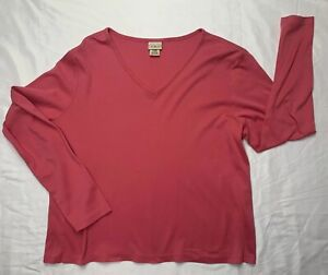 LL-Bean-Womens-Top-Pink-V-Neck-Long-Sleeve-Size-L-100-Supima-Cotton