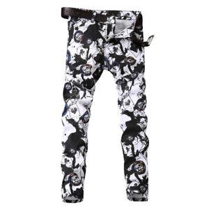 2019-Mens-Patchwork-Jeans-Pants-Print-Night-club-Denim-Jeans-pants-trousers