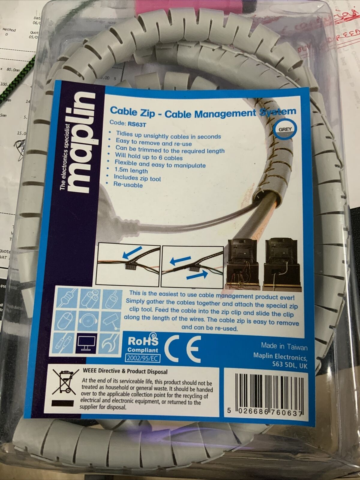 Maplin Grey Cable Zip Cable Management System