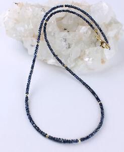 Saphir-kette-edelsteinkette-Facettierte-Blau-Rondell-Collier-Echt-Schmuck-Schoen