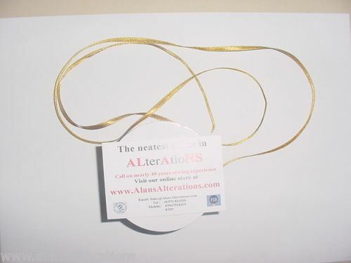 10 MTRS DOUBLE FACED SATIN RIBBON 3mm PALE GOLD C828