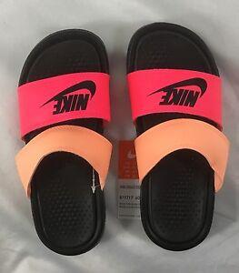 best website 748c7 bc15f Details about Nike Women's Sandals Benassi Duo Ultra Slide Black Pink Peach  Size 5